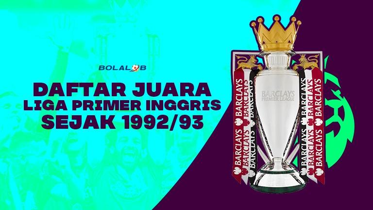 Daftar Juara Liga Primer Inggris Sejak 1992/93, Liverpool ...