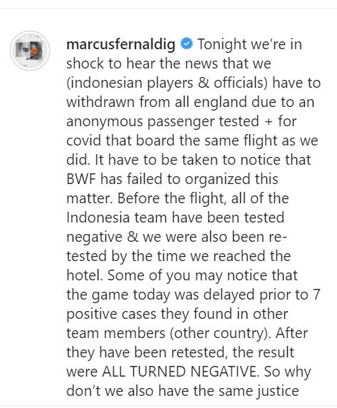 Unggahan Marcus Fernaldi Gideon di akun Instagram miliknya.